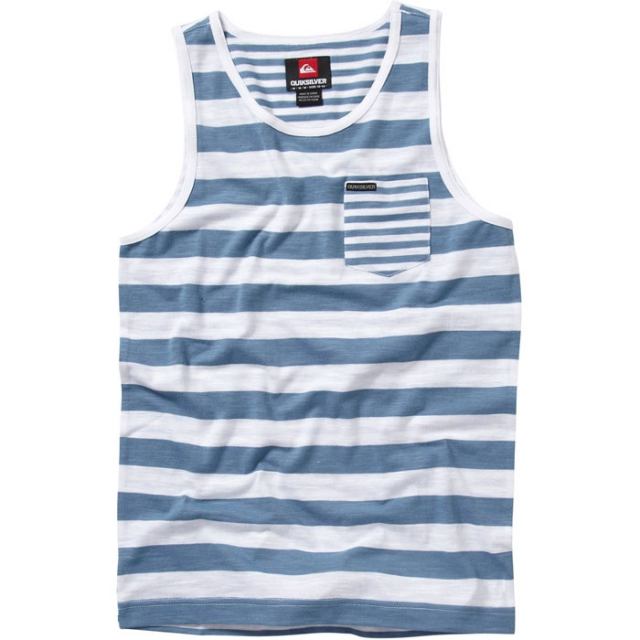 Quiksilver - Heron Pocket Tank Mens - Bright White Stripe XL