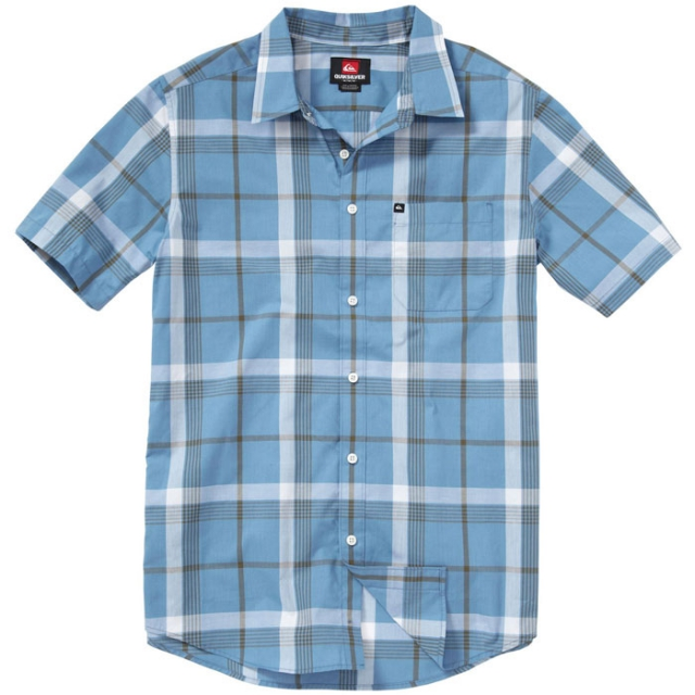 Quiksilver - Jumbo Gumbo Short Sleeve Shirt Mens - Blue Heaven Plaid S