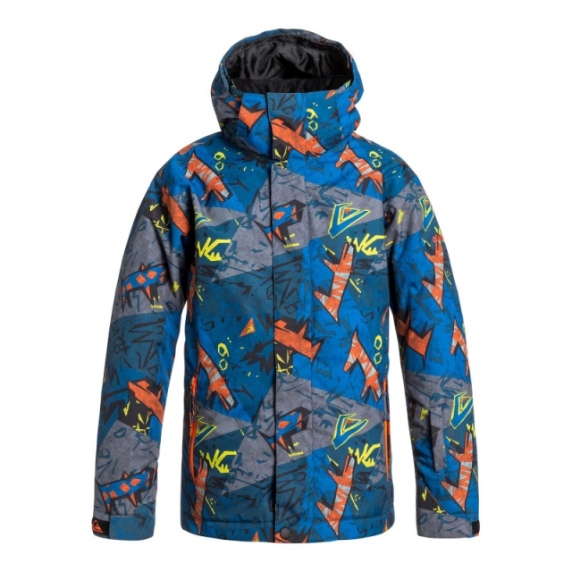 Quiksilver - Boys Mission Print Jacket - Closeout Olympia Plue - Stripe