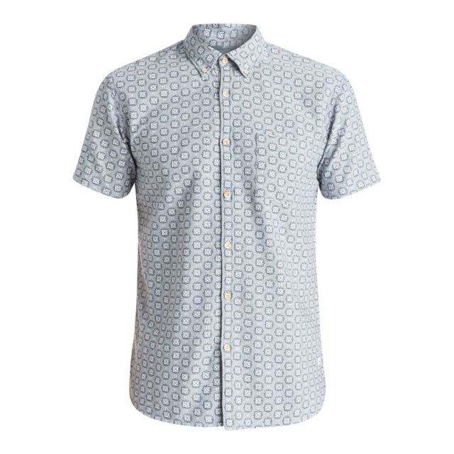 Quiksilver - Mens Plumes Oxford Short Sleeve Shirt - Sale Flint Stone