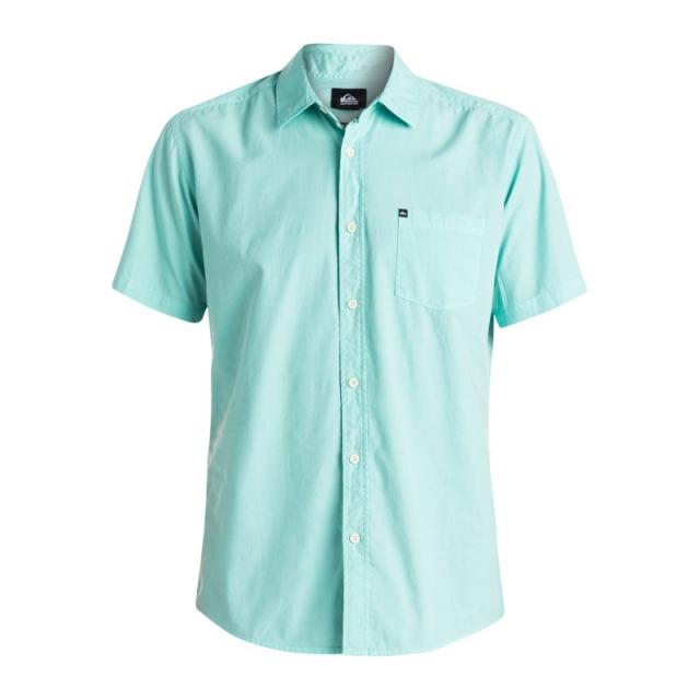 Quiksilver - Mens Everyday Solids Short Sleeve Shirt - Closeout Aruba Blue