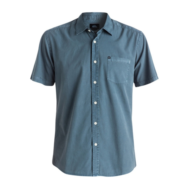 Quiksilver - Mens Everyday Solids Short Sleeve Shirt - Closeout Dark Denim