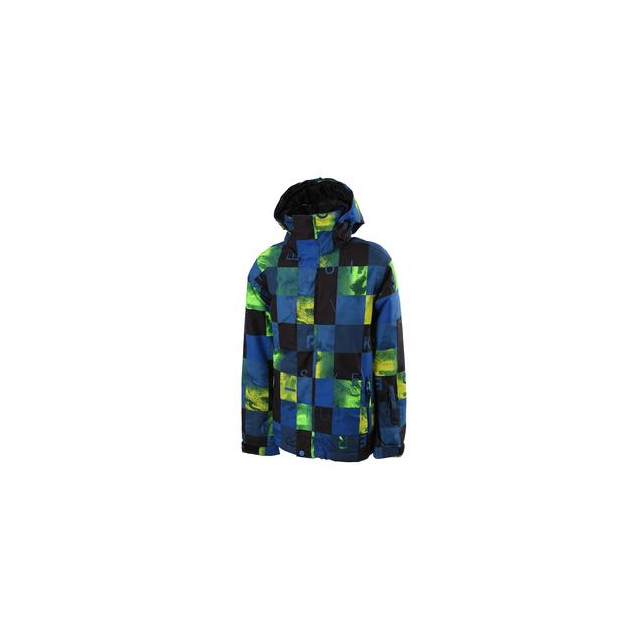 Quiksilver - Mission Print Insulated Snowboard Jacket Boys', Check Kasper/Snow Blue, L