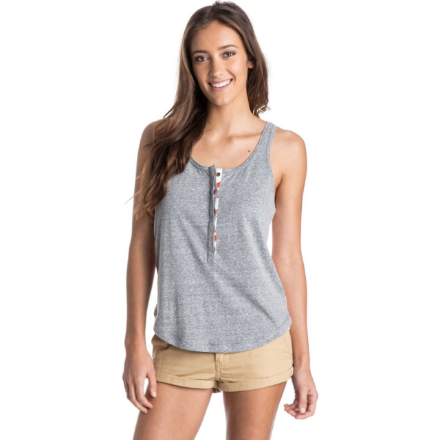 Roxy - Stone Steps Henley Tank Top - Sale Heritage Heather Large