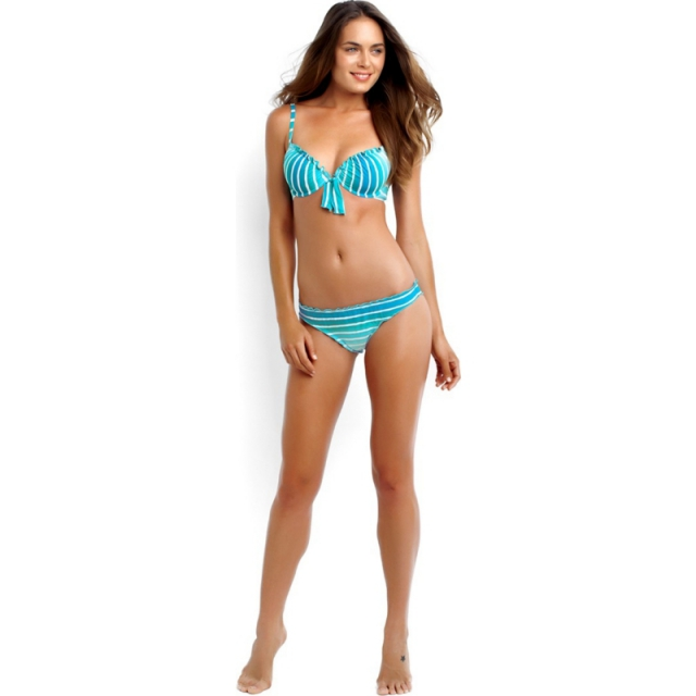 Seafolly - Miami Stripe Mini Hipster Bikini Pant - Sale Neon Melon 08