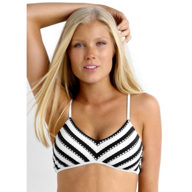 Seafolly - Coast to Coast Bralette Bikini Top - Closeout Black/White 14