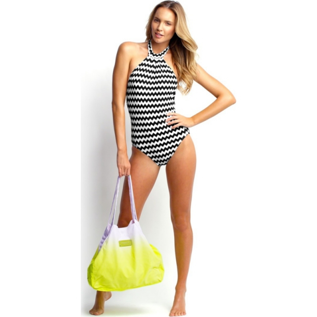 Seafolly - Womens Mod Club High Neck Maillot - Sale Black/White 06