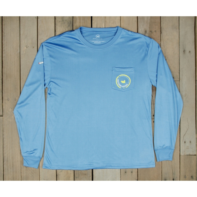 Southern Marsh - Mens Fieldtec Pocket Tee - Long Sleeve - Closeout Breaker Blue/Yellow