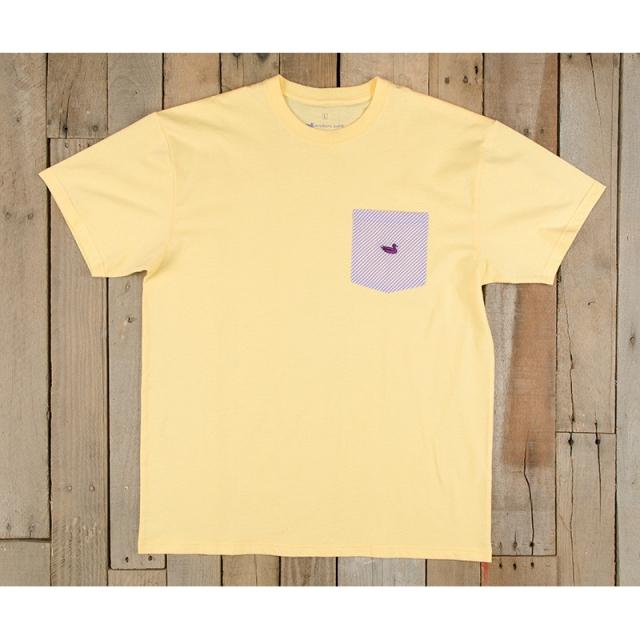 Southern Marsh - Mens Stewart Pocket Tee - Seersucker - Closeout Yellow/Purple