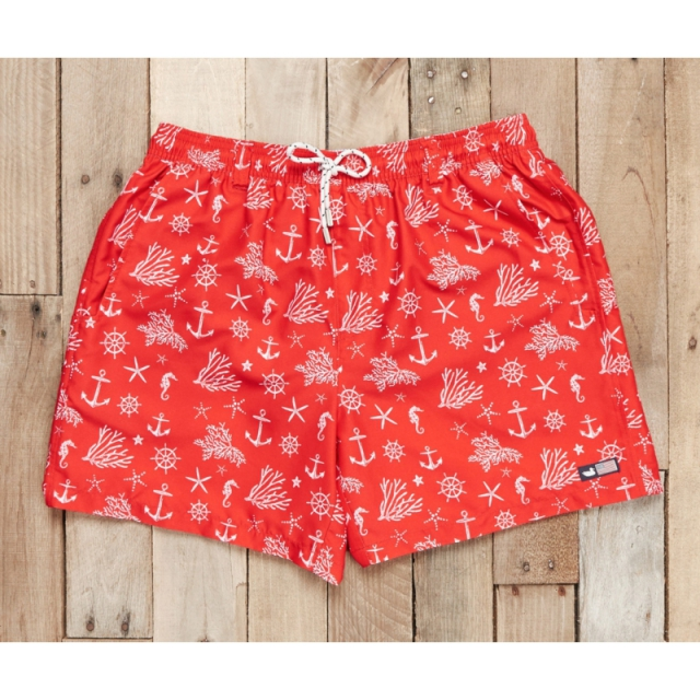 Southern Marsh - Dockside Swim Trunk - Anchors - Sale Red and White