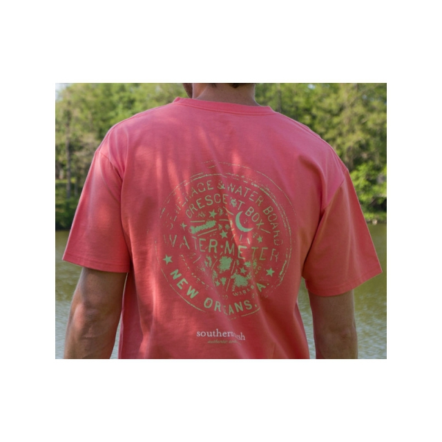 Southern Marsh - Mens Water Meter Tee - New Coral Medium
