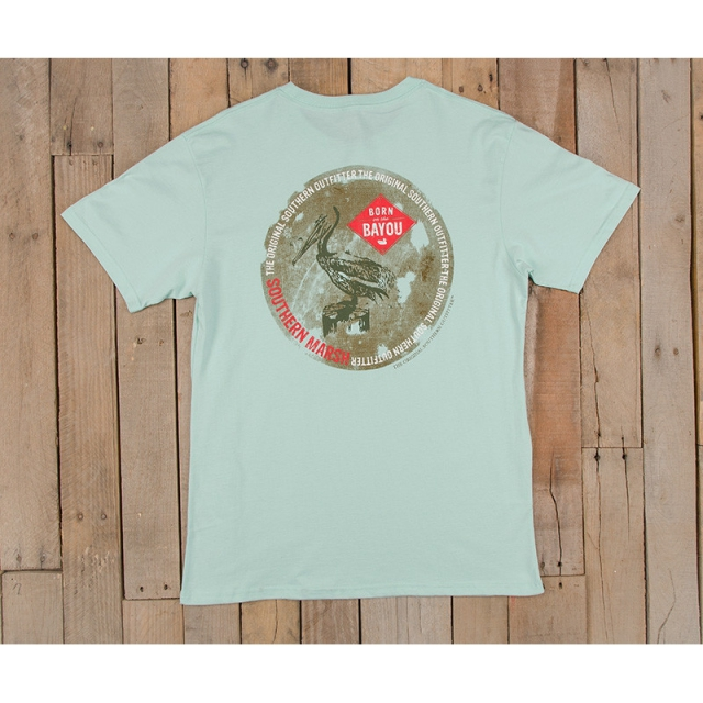 Southern Marsh - Mens Bayou Outfitter Tee - New Ocean Green Medium