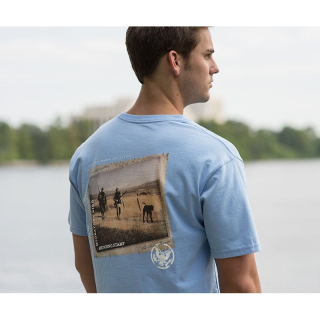 Southern Marsh - Mens Chocolate Lab Tee - New Breaker Blue Small