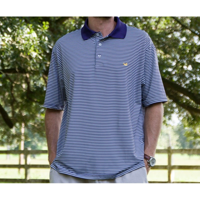 Southern Marsh - The Bermuda Performance Polo - Striped - Closeout Purple & White