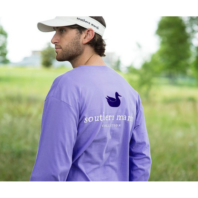 Southern Marsh - Mens Long Sleeve Authentic Tee - New Lilac Medium