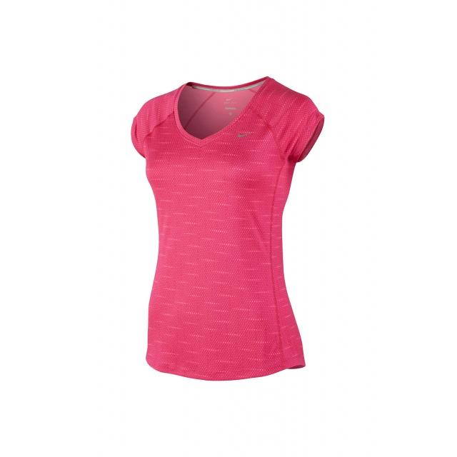 Nike - Women's W Printed Miler SS V-Neck - 644696-612 L