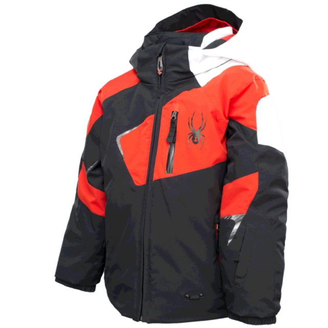 Spyder - Boys Mini Leader Jacket - Closeout Black/Volcano/White 03