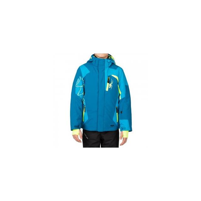 Spyder - Challenger Ski Jacket Boys', Concept Blue/Electric Blue/Bryte Yellow, 18