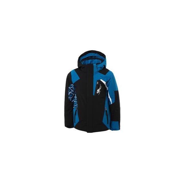 Spyder - Challenger Ski Jacket Boys', Black/Concept Blue/White, 14
