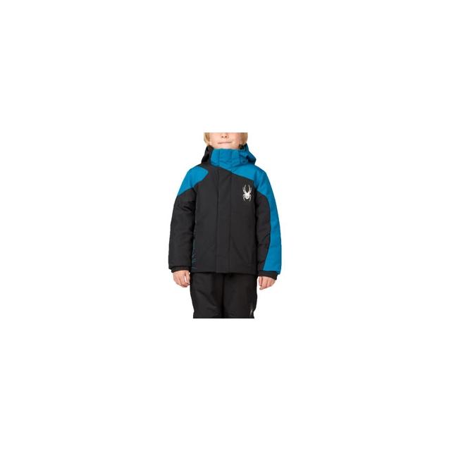 Spyder - Mini Guard Insulated Ski Jacket Little Boys', Black/Theory Green, 4