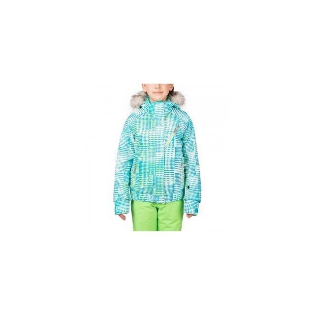 Spyder - Lola Insulated Ski Jacket Girls', Riviera Diamond Print/Green Flash/Riviera, 18