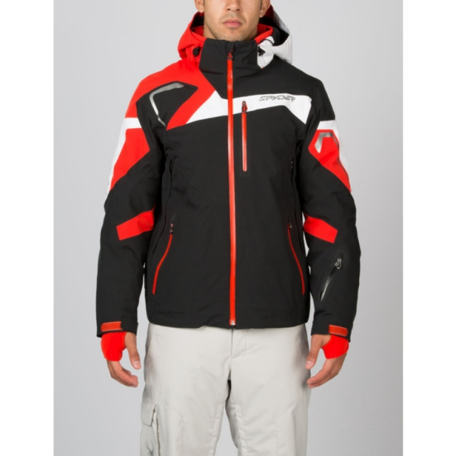 Spyder - Mens Titan Jacket - Closeout Black/Volcano/White XL