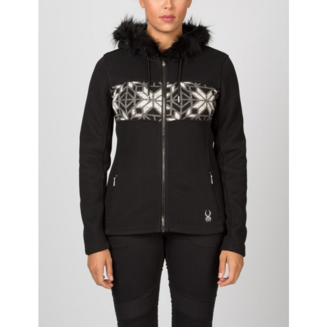 Spyder - Womens Soiree Hoody W Faux Fur - Closeout Black/White/Image Gray