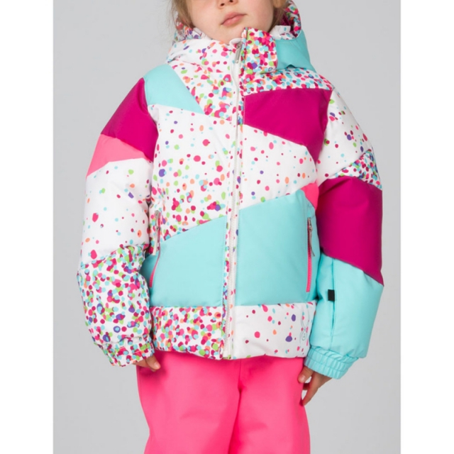 Spyder - Girls Bitsy Duffy Puff Jacket - Closeout White Confetti Print/Wild/Shat