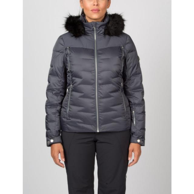 Spyder - Womens Falline Real Fur Jacket - Closeout Black Denim 04