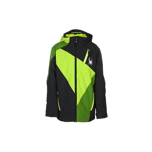 Spyder - Enforcer Insulated Ski Jacket Boys', Black/Black/Electric Blue Scaffolding, 12