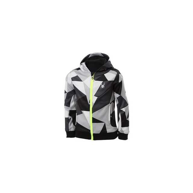 Spyder - Invert Softshell Jacket Boys', Black Faceted Print/Bryte Yellow, M