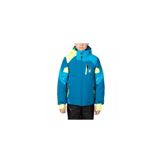 Spyder - Leader Insulated Ski Jacket Boys', Concept Blue/Electric Blue/Bryte Yellow, 18