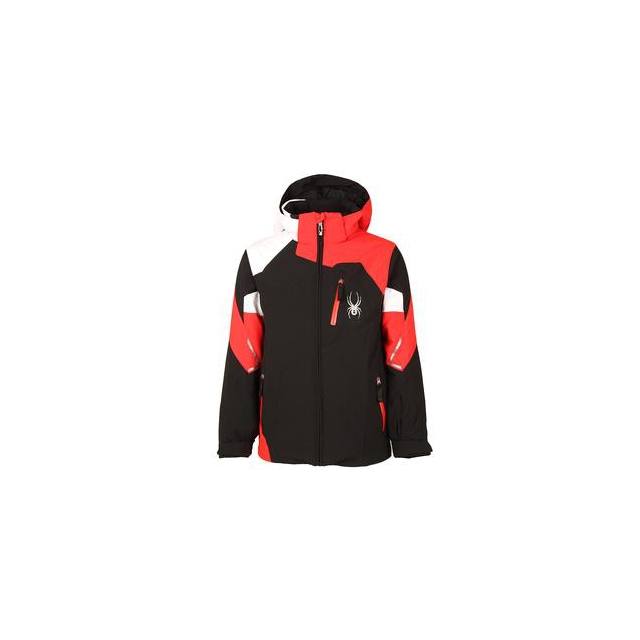 Spyder - Leader Insulated Ski Jacket Boys', Black/Volcano/White, 14