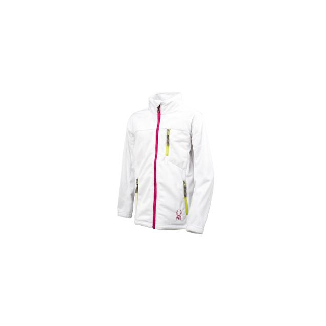 Spyder - Caliper Fleece Jacket Girls', Black/Girlfriend/Sharp Lime, XL