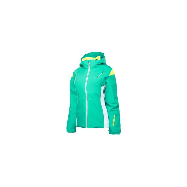 Spyder - Prevail Insulated Ski Jacket Women's, Robins Egg/White/Bryte Yellow, 10