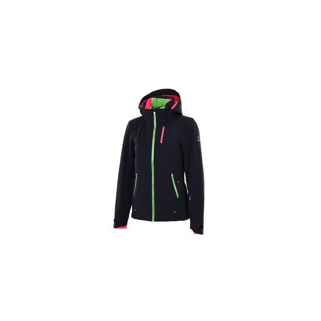 Spyder - Pandora Insulated Ski Jacket Women's, Black/Green Flash/Bryte Pink, 10