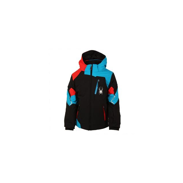 Spyder - Mini Leader Insulated Ski Jacket Little Boys', Black/Electric Blue/Volcano, 6