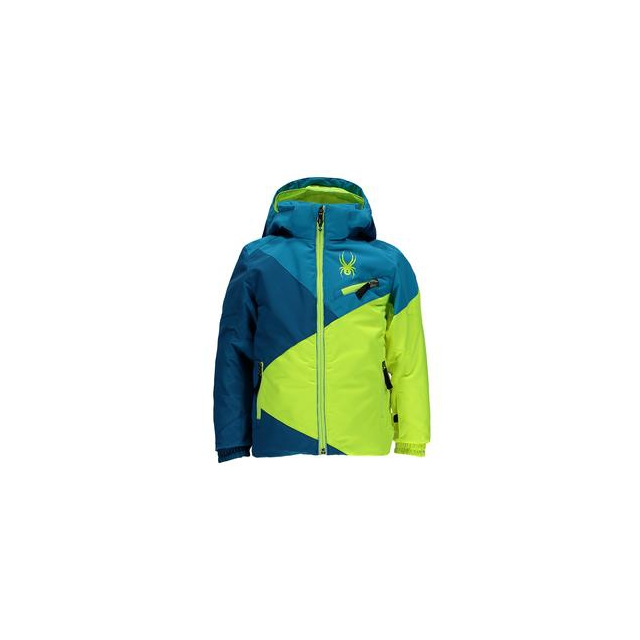 Spyder - Mini Ambush Insulated Ski Jacket Little Boys', Concept Blue/Electric Blue/Bryte Yellow, 2
