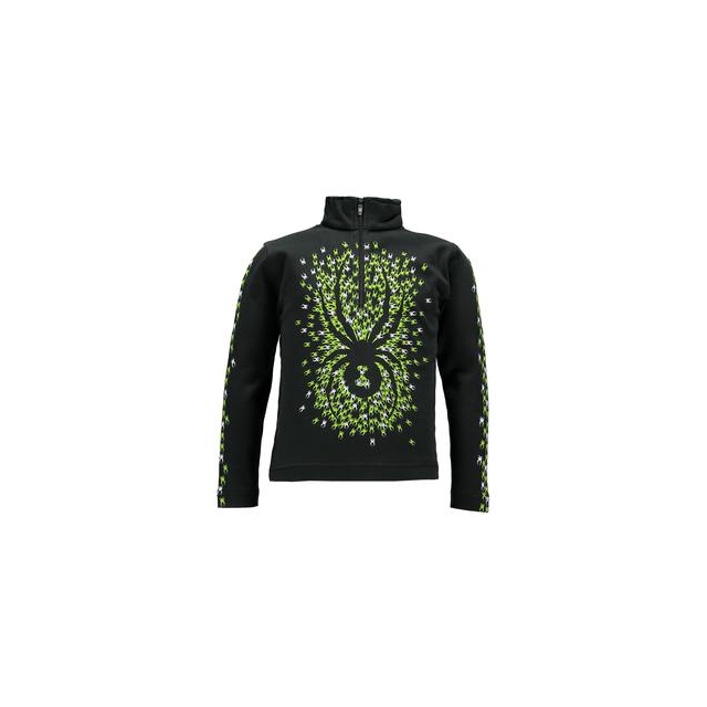 Spyder - Mini Bugs On Bugs Turtleneck Mid-Layer Little Boys', Black/White/Theory Green, 3