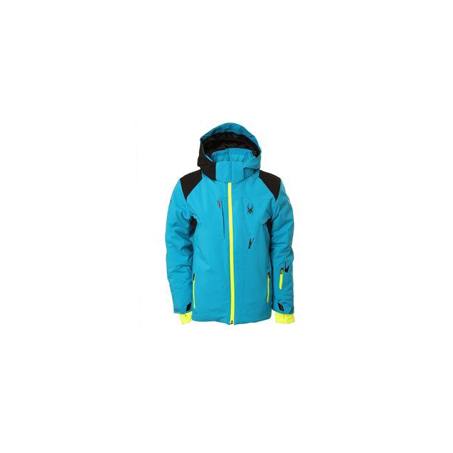 Spyder - Speed Insulated Ski Jacket Boys', Electric Blue/Black/Bryte Yellow, 18
