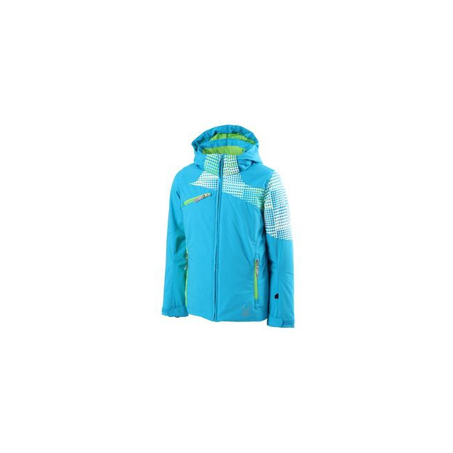 Spyder - Project Insulated Ski Jacket Girls', Riviera/Riviera Diamond Print/Green Flash, 8