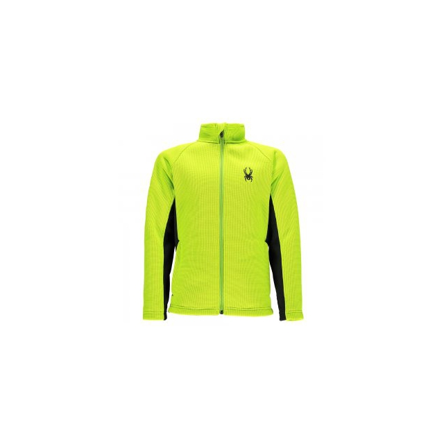 Spyder - Mini Outbound Mid-Weight Core Sweater Jacket Little Boys', Electric Blue/Bryte Yellow, XXS