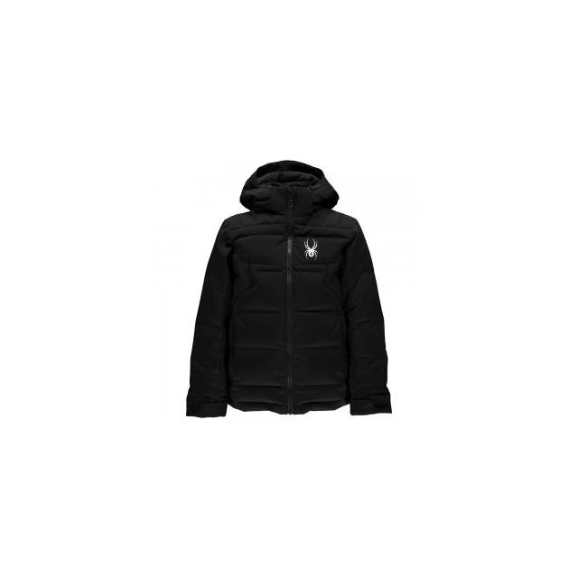 Spyder - Clutch Down Ski Jacket Boys', Black/Herringbone Polar/Red, 10