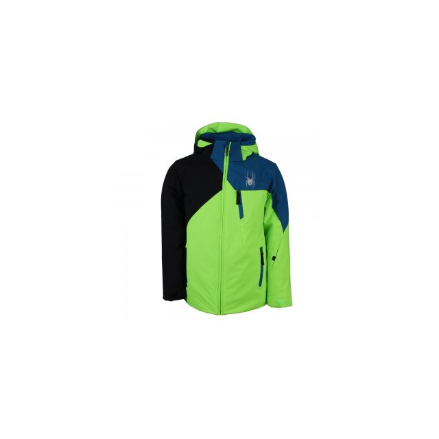 Spyder - Ambush Insulated Ski Jacket Boys', Black/Red/Space Armor Formula, 10