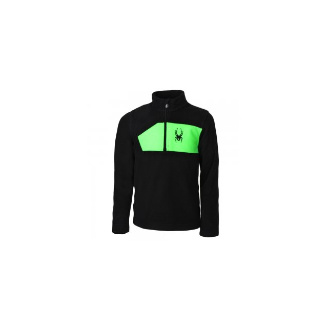 Spyder - Speed Fleece Top Boys', Black/Bryte Green, L