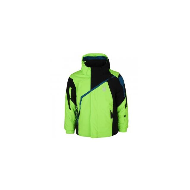 Spyder - Mini Challenger Insulated Ski Jacket Little Boys', Black/Red/Bryte Orange, 4