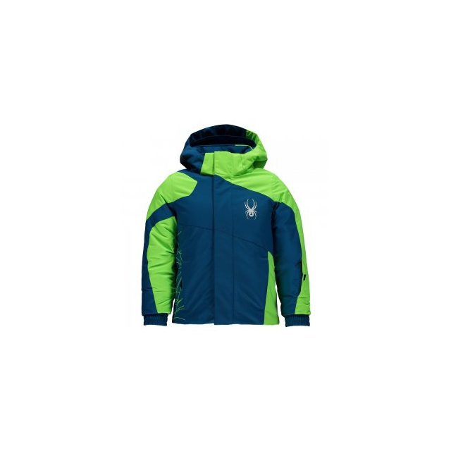 Spyder - Mini Guard Insulated Ski Jacket Little Boys', Concept Blue/Bryte Green, 4