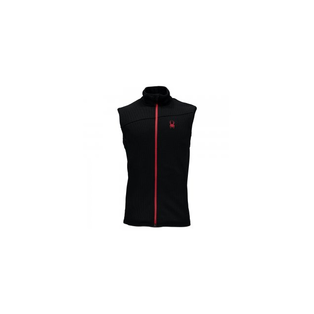 Spyder - Constant Mid Wt Stryke Fleece Vest Men's, Black/Red, L