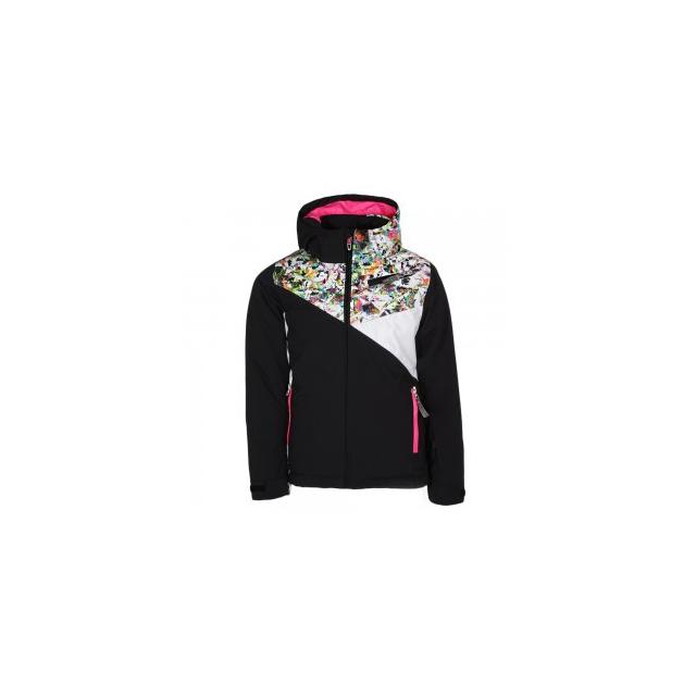 Spyder - Project Insulated Ski Jacket Girls', Black/Kaleidoscope/White, 10