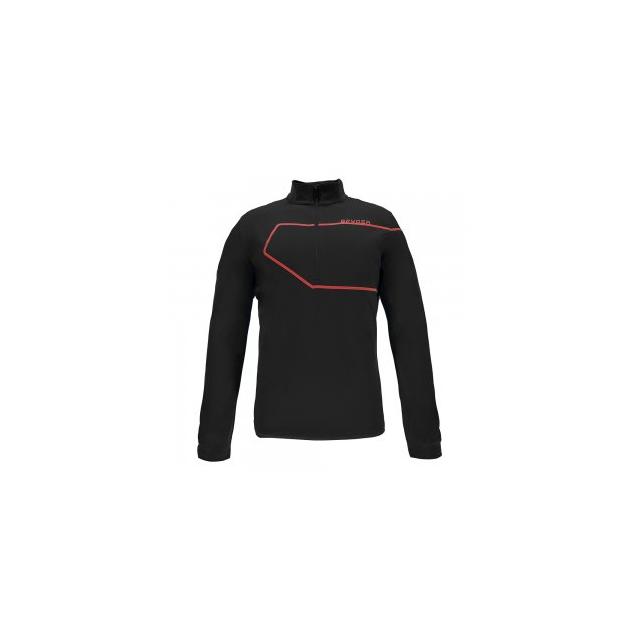 Spyder - Commander Therma Stretch Turtleneck Mid-Layer Men's, Black/Red, L